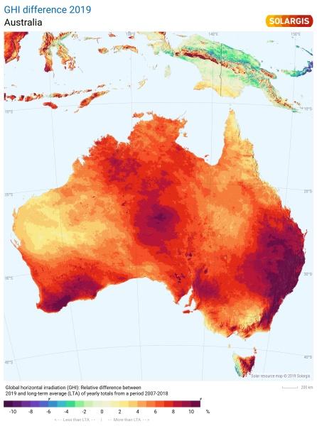 2019 Australia Solar Performance Map