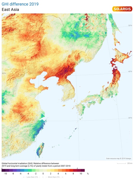 2019 East Asia Solar Performance Map