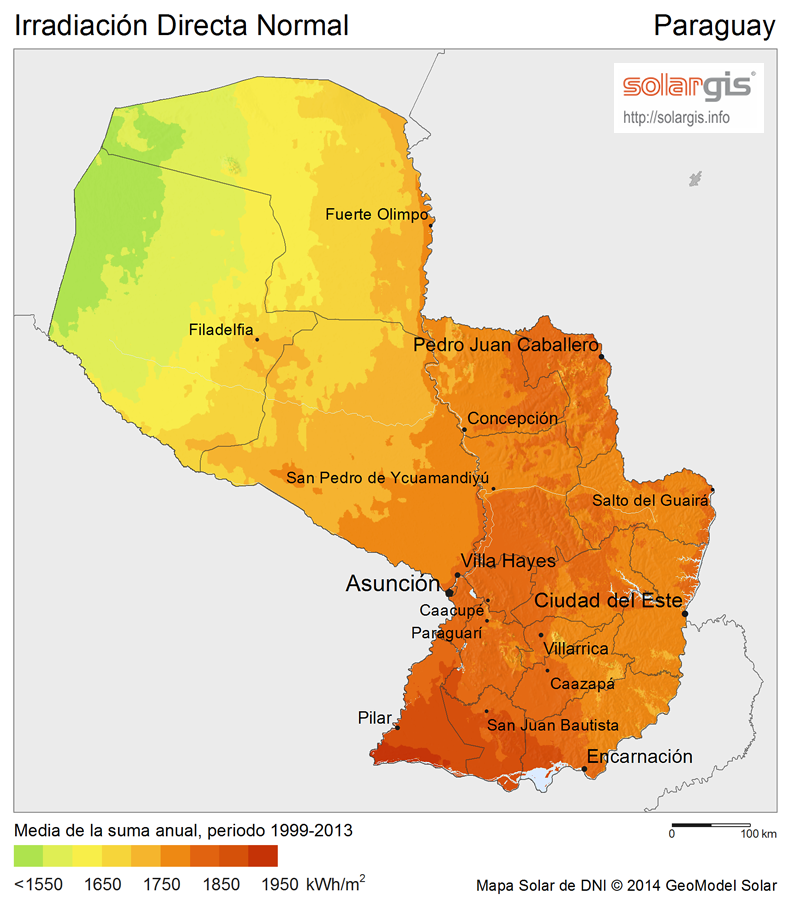 Download Free Solar Resource Maps Solargis - Map of paraguay world
