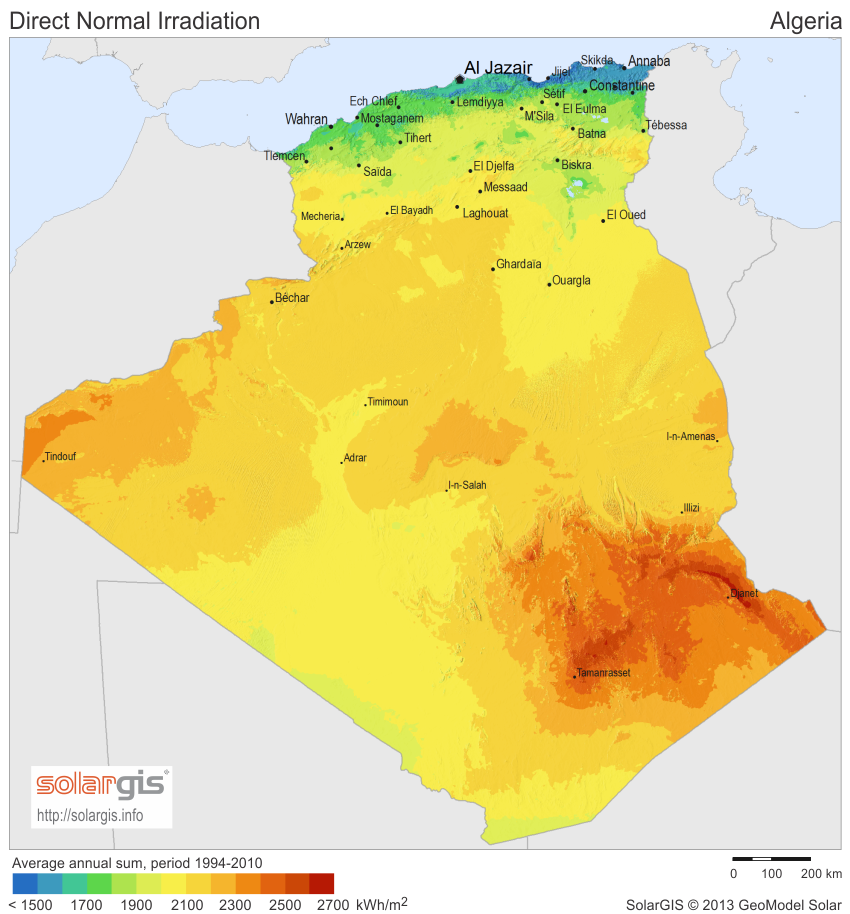 Download Free Solar Resource Maps Solargis - Algeria map