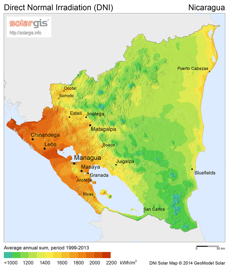 Download Free Solar Resource Maps Solargis - Map nicaragua