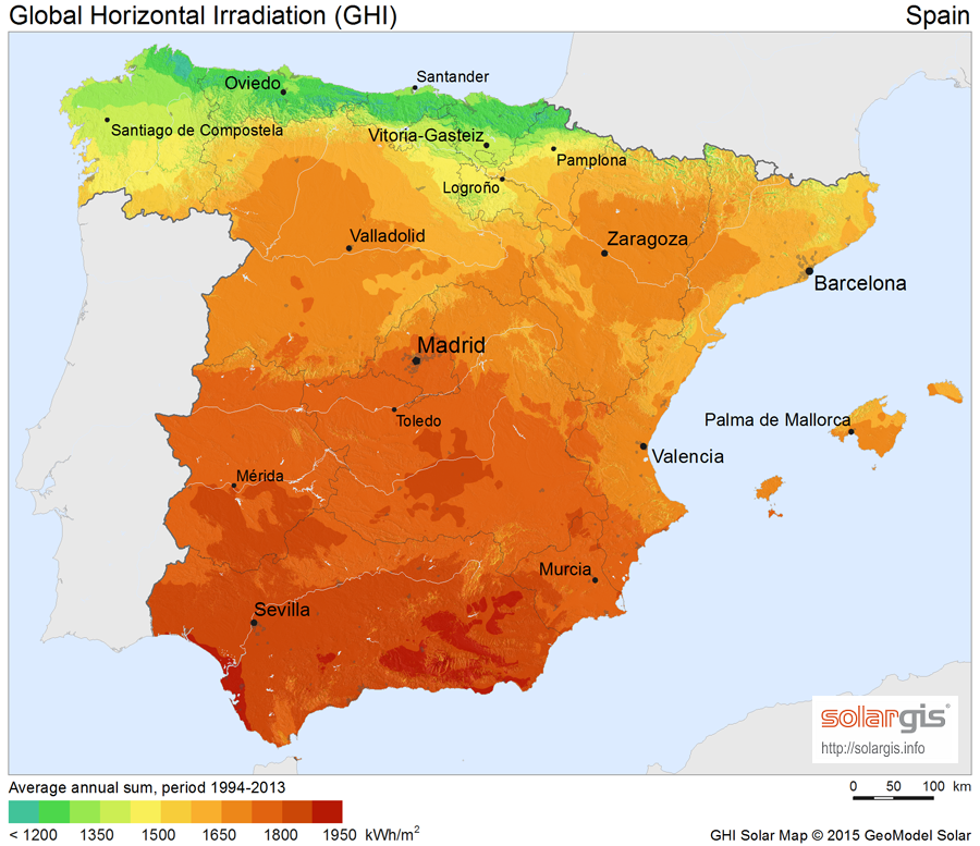 Download Free Solar Resource Maps Solargis - Map of spain