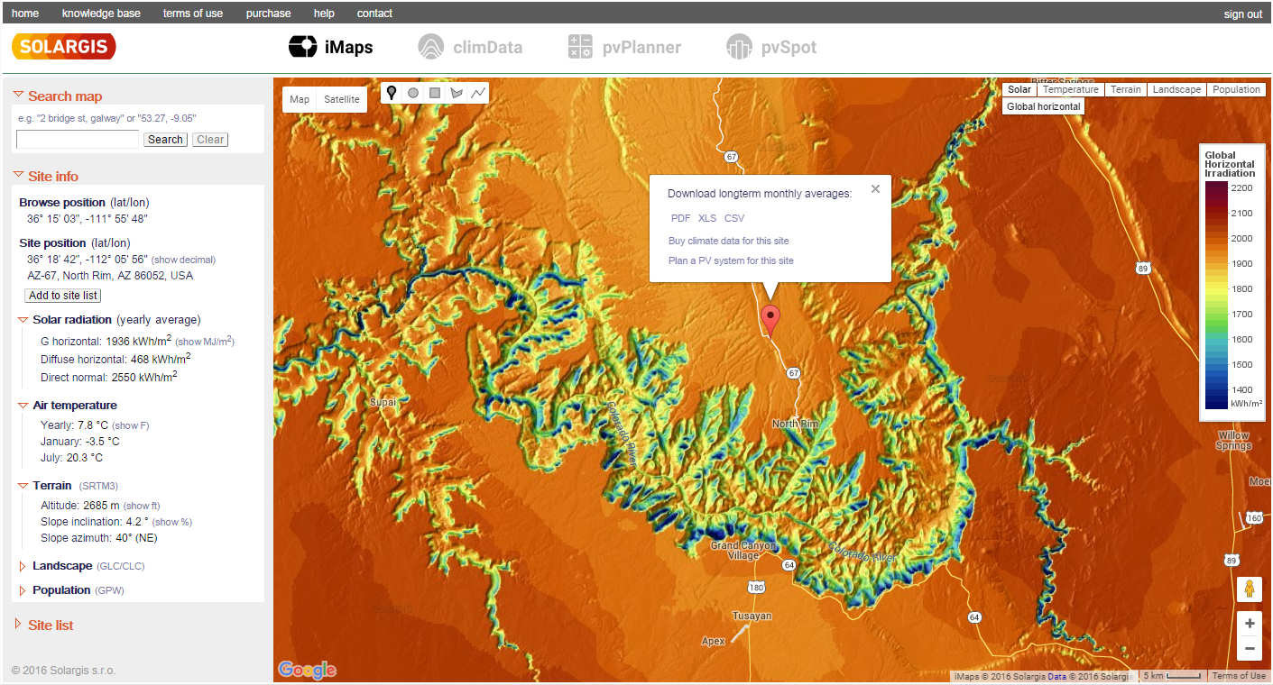 loss on irradiation from terrain shading is important information in complex terrain detailed zoom on ghi map grand canyon usa