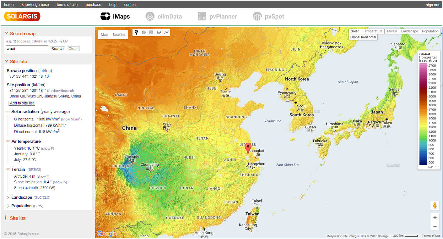solar resource spatial context on ghi map east asia